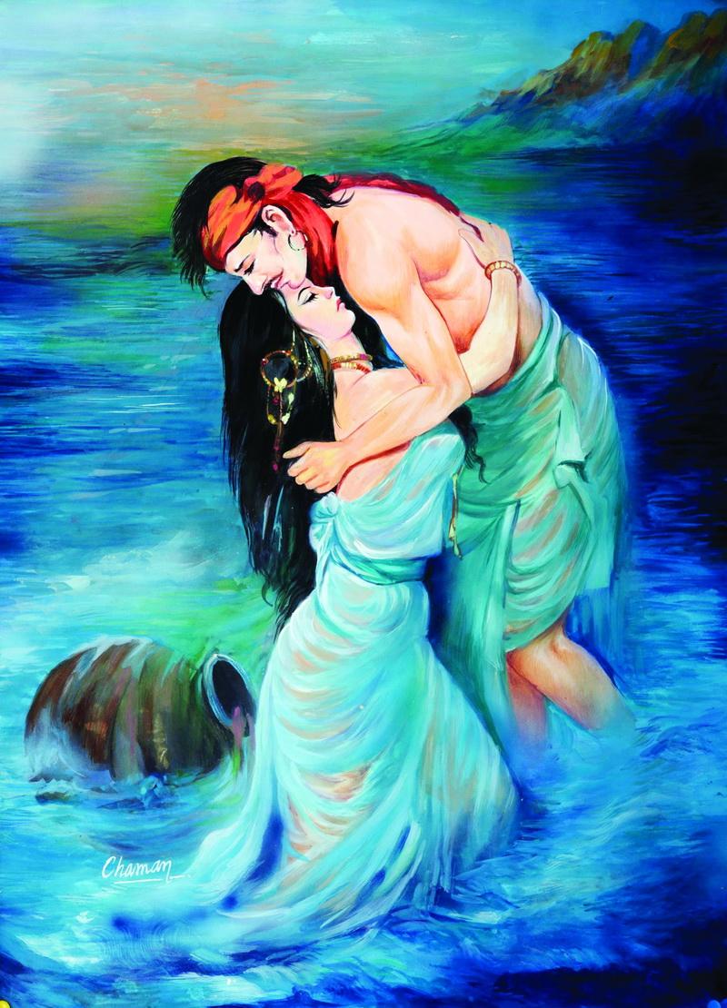 Sohni treats seabed as knee deep water - Sohni Mehar-Painting-by-Chaman-Singh