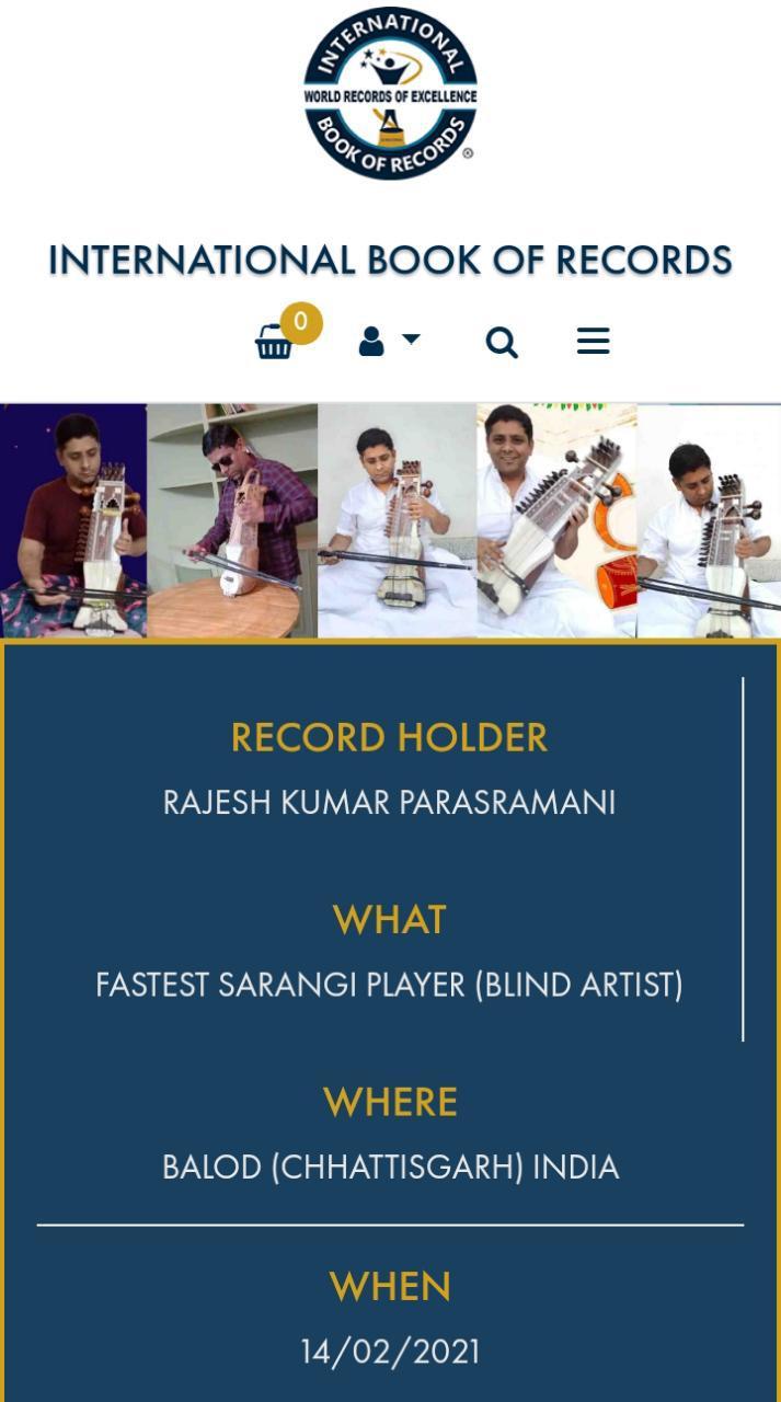 Rajesh Kumar Parasramani sets record of Fastest Sarangi Player - Sindh Courier