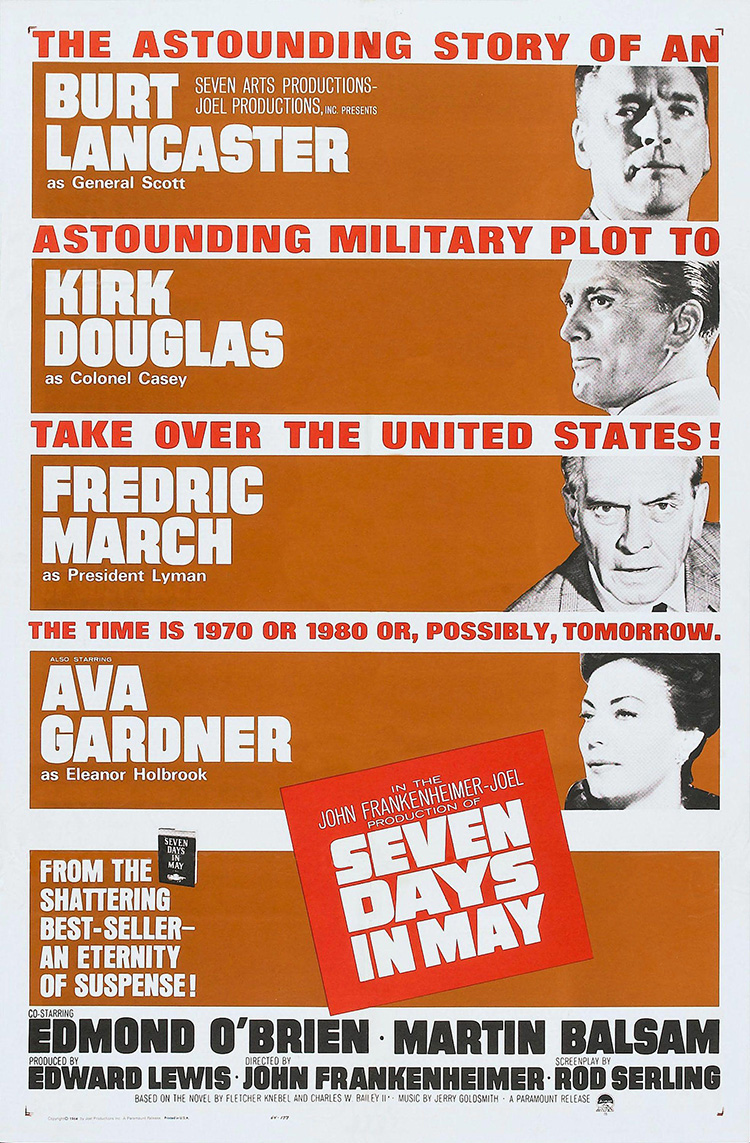 Original Film Title: SEVEN DAYS IN MAY. English Title: SEVEN DAYS IN MAY. Film Director: JOHN FRANKENHEIMER. Year: 1964. Credit: PARAMOUNT PICTURES / Album