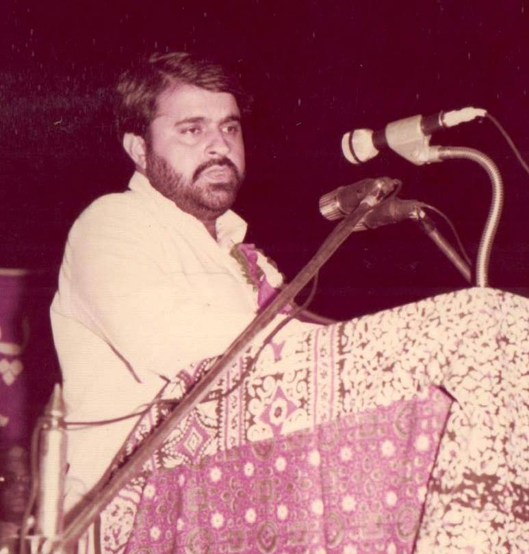 Words Are Pearls, Full of Colors And Whiff- Sindh Courier-Young Maqsood Gul, reading his poetry in a literary function back in 1980s