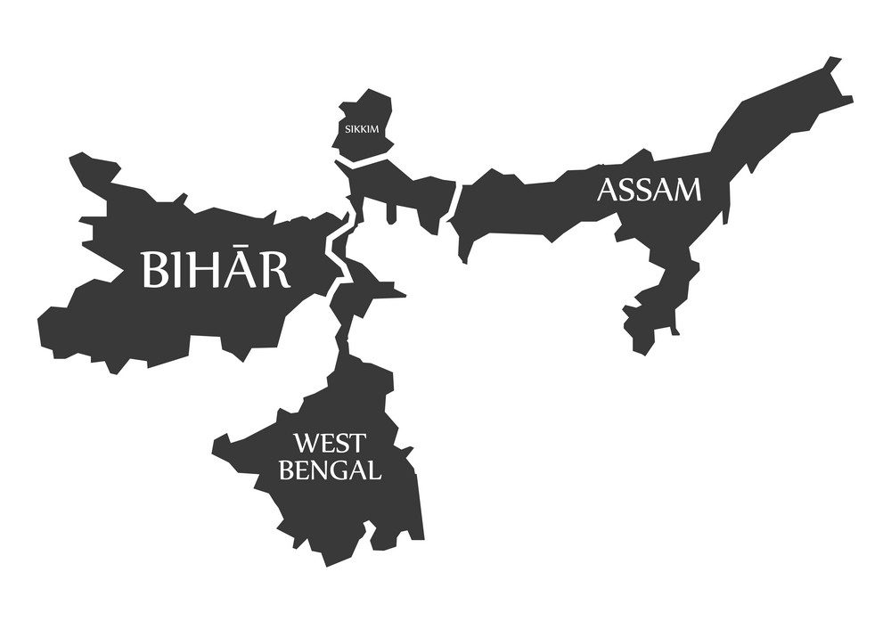 Bihar - West Bengal - Sikkim - Assam Map Illustration of Indian