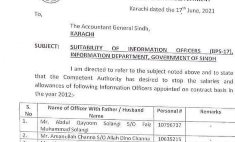Photo of Sindh govt. stops salaries of its 38 Information Officers